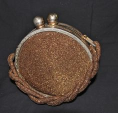 vintage 1940's Fre-mor creation bronze beaded round canteen style evening bag #Fremor #EveningBag