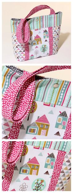 Here is the perfect gift idea for a little girl. Make this cute mini tote with modern fun fabrics. Its quick to sew is fully lined and has a flat base for extra space. The Petite Street Childs Tote Bag pdf pattern is aimed at the confident beginner sewer. Bag Patterns To Sew, Sewing Patterns Free, Free Sewing, Sewing Tutorials, Sewing Projects, Bag Tutorials, Tote Pattern, Baby Booties Knitting Pattern, Knit Baby Booties