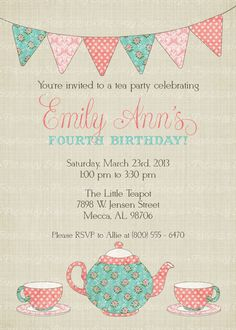 Tea Party Birthday Invitation Time For Little Girl Digital Printable File