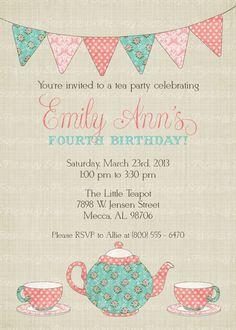 Tea for two Invitation. Tea Party Invitation. Tea Party Birthday ...