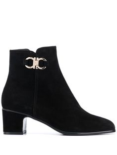 $708.56. SALVATORE FERRAGAMO Boot Salvatore Ferragamo Women'S Black Leather Ankle Boots #salvatoreferragamo #boot #anklehigh #midheel #leather #shoes Black Leather Ankle Boots, Suede Leather, Black Suede, Bow Sandals, Salvatore Ferragamo, Block Heels, Ankle Highs, Toe, Products