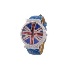 Genuine Melissa Brand Chic British Flag Pattern Leather Watchband Ladies Full-Rhinestone Watch With Large Dial - USD $109.95 from Picsity.com