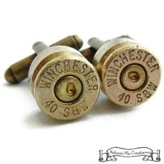 Winchester Bullet Cufflinks - made from upcyceled 40mm Federal Smith and Wesson Federal Bullet Casing. $30.00