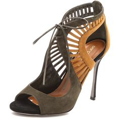 Sergio Rossi Tricolored Suede Naos Sandals ($390) ❤ liked on Polyvore featuring shoes, sandals, footwear, cargo, high heel sandals, cut out lace up sandals, sergio rossi sandals, sexy shoes and sexy high heel shoes