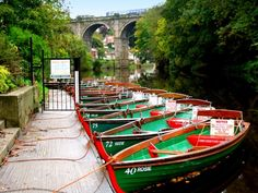 Boats for hire near Knaresborough viaduct A picture of: Knaresborough, North Yorkshire
