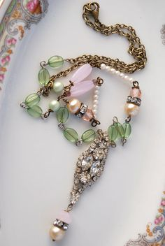Pastel Pleasuresvintage assemblage long by tiedupmemories on Etsy, $58.00