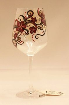 Hand Painted Wine Glass Intricate Floral Design by ChelsiLees, $32.00