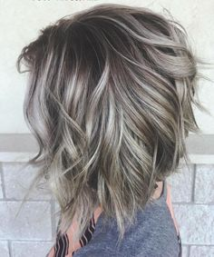 Silver ombre hair in Bolivar, MO - Balayage Haare Blond Kurz Silver Ombre Hair, Silver Hair Colors, Grey Ombre Hair Short, Ombre Hair Bob, Gray Hair Color Ombre, Grey Hair Colors, Brown And Silver Hair, Grey Brown Hair, Short Silver Hair