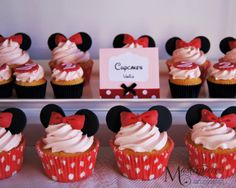 Minnie mouse cupcakes for a Minnie Mouse themed dessert/sweet table.