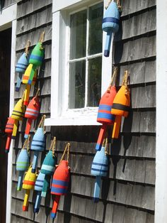 Lobster bouys in Maine ~ in search for the local delicacy.