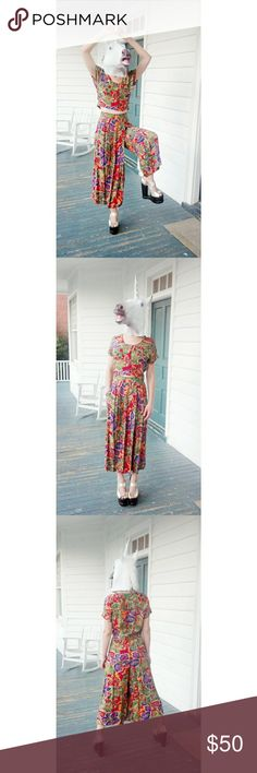 Vintage 2 Piece Floral Coordinate Set Vintage 80s or 90s  Brand is Rialto CA  EUC/excellent vintage condition: no snags, rips, tears, stains, or pilling  Amazing, unique bright floral pattern. Top is cropped with button up front and fly button in the back (see pics). Pants look like a skirt but just have really wide legs, like culottes. Pants have one pocket.   Very comfy and breezy. Guaranteed you will never see anyone else Rialto Other