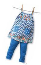 Blue Chevron & Floral Tunic & Leggings Set (sz 4-6X)