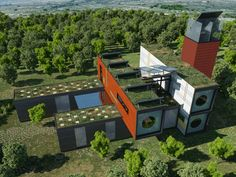 Container home with green roof. (biohouse_2)