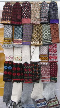 Latvian mittens and socks! Latvian mittens Spotted in Hellerud fair outside Oslo, Norway, June 2005. From Strikkelise, Flickr