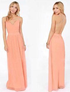 Peach Chiffon Long Dress
