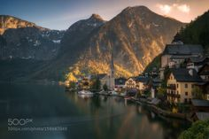 Hallstatt by ludwigriml  lake mountains church harmony alps tranquility austrian…