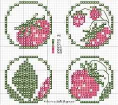 embroidery strawberry pattern for buttons