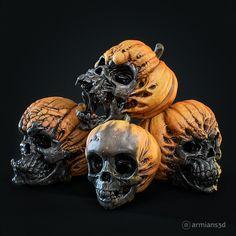 ArtStation - Evil Pumpkin Skulls, Arminas Didziokas Evil Pumpkin, Creepy Pumpkin, Zombie Halloween Decorations, Halloween Art, Halloween Stuff, Effigy, 3d Prints, Skull And Bones, Gourds