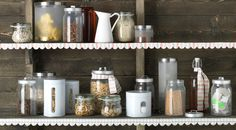 Spice up your pantry shelves with textiles and fill them with DROPPER & BURKEN jars!
