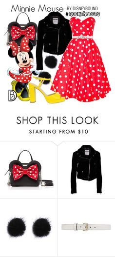 """""""Minnie Mouse"""" by leslieakay ❤ liked on Polyvore featuring Kate Spade, Moschino, Gucci, disney, disneybound, disneycharacter and RockTheDots"""