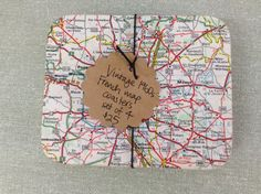 Vintage map coaster set