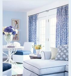 Fresh Blue And White Printed Curtains