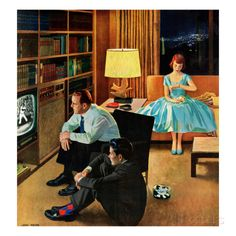 """Date with the Television"", April 21, 1956 Giclée-Druck von John Falter bei AllPosters.de"