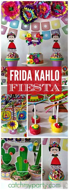 This colorful Mexican fiesta features Frida Kahlo! See more party ideas at… Mexican Birthday Parties, Mexican Fiesta Party, Mexican Fiesta Decorations, Theme Parties, Festa Party, Diy Party, Party Ideas, Frida Kahlo Birthday, Mexico Party