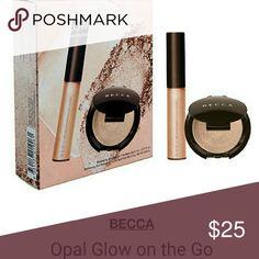 Becca opal glow on the go (2 pc) Bronzer-highlighter duo use Golden shimmer lip gloss BECCA Makeup Bronzer