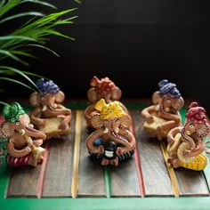 Bring these set of 6 attractive and auspicious Ganesha Musician #Idols handmade from Terracotta to give a vibrant and graceful appeal to your Puja room and Home decoration. #homedecoration