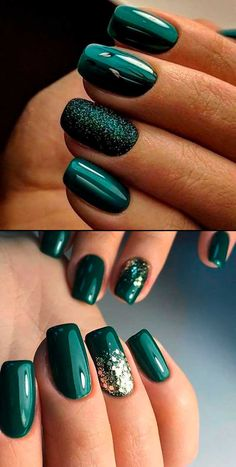 Gorgeous dark green winter nails ideas for inspiration! Fancy Nails, Cute Nails, Pretty Nails, Christmas Gel Nails, Holiday Nails, Dark Christmas, Christmas Makeup, Christmas Popcorn, Christmas Nail Art