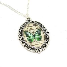 Last Worldwide Ordering Date for Christmas delivery - Sunday 15th November!  Green Butterfly Nature Illustration Cameo Necklace.  This beautiful
