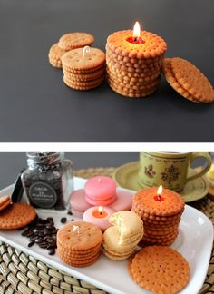 Don't eat these biscuit candles. Just enjoy and smell them. Cute Candles, Unique Candles, Best Candles, Diy Candles, Scented Candles, Natural Candles, Velas Diy, Cupcake Candle, Candle Making Business