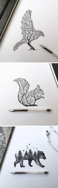 Dibujos Más illustration Pen & Ink Depictions of Trees Sprouting into Animals by Alfred Basha Easy Pencil Drawings, Easy Animal Drawings, Cool Drawings, Drawing Sketches, Disney Drawings, Amazing Drawings, Drawing Animals, Beautiful Drawings, Drawing Tips