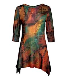 Another great find on #zulily! Rust Abstract Script Brushed Tunic - Plus Too #zulilyfinds