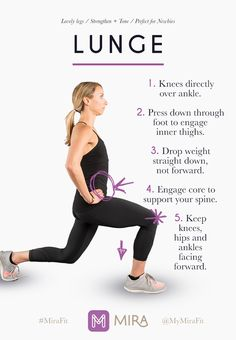 Lunges are one of the tried-and-true lower body exercises. For best results, remember the wise words of the Beastie Boys: Slow and low, that is the tempo. Check out the Mira bracelet and activity tracker for more ways to discover your healthy.