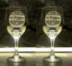 Etched wine glasses....Dr.Pepper