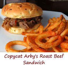 Arbys roast beef sandwich copy cat And here it is. Tangy Arby's sauce. And of course, seasoned curly fries. It's impossible to make enough of it because no matter what, I'm going to make it disappear. Arbys Roast Beef Recipe, Arbys Roast Beef Sandwich, Roast Beef Sandwiches, Roast Beef Recipes, Healthy Sandwiches, Wrap Sandwiches, Sandwich Recipes, Crockpot Recipes, Cooking Recipes