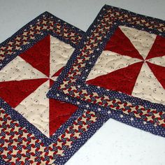 Two Quilted Mug Rugs/ Coasters Red White by TennesseeQuiltworks, $12.50