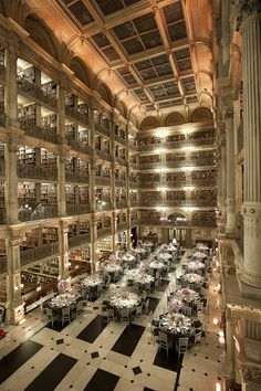 George Peabody Library, Maryland  Take a visit to this stunning library at John Hopkins University. It's also used for events, such as weddings.  Find out more at Peabody Events.