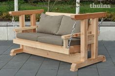 Wooden Living Room Furniture, Modern Wood Furniture, Outdoor Furniture Plans, Porch Furniture, Iron Furniture, Furniture Design, Porch Swing Frame, Wood Swing, Woodworking Projects Diy