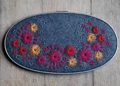 Love the colors! Wall Hoop Art Hand Embroidered Felt Pewter Grey by lovemaude, $38.00