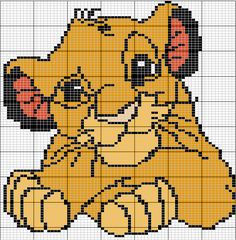 Lion King crosstitch or perler bead pattern Crochet Pixel, Crochet Lion, Crochet Chart, Disney Stitch, Disney Cross Stitch Patterns, Cross Stitch Charts, Cross Stitching, Cross Stitch Embroidery, Hello Kitty Crochet