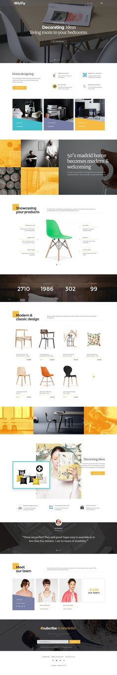 Milkyway is creative eCommerce #PSD Template for #furniture,  interior design or home decor business #website. Download Now!