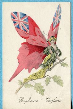 X6169 Postcard Angleterre England Female Moth with British Flags on Wings | eBay