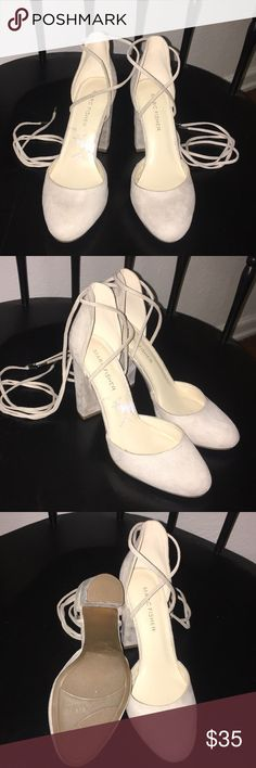 Cream Suede Ankle lace heels Chunky Heel, round toe, ankle lace gently worn heels.  They are great to pair with rolled boyfriend jeans or with your favorite sundress. Marc Fisher Shoes Heels