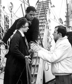 Ryta Tushingham and Paul Danqhua get instructions of Tony Richardson in the set of A Taste of Honey