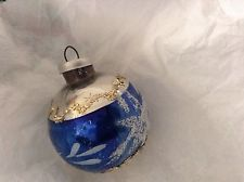 Vintage 1950'S Blue Silver With White Glitter Glass Christmas Ornament