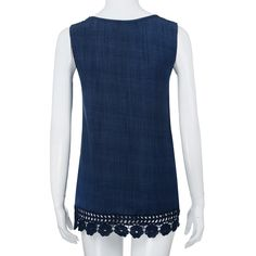 7f5eb20dd53 HGWXX7 Tank Tops Womens Plus Size Lace Solid ONeck Sleeveless Loose Shirt  Vest 5XL Blue -