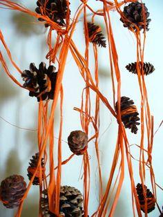 Autumn Garland Orange Pinecone Decor Fall Wedding by kzannoart, $36.00
